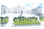 Un disegno del progetto di sistemazione delle aiuole di piazza Duomo